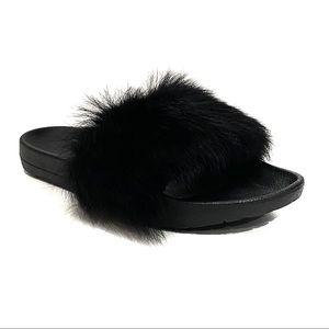 UGG Black Slides Pool Side Fur Sandals Royale